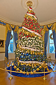 """The White House Christmas tree, an 18.5 foot Fraser fir, in the Blue Room on the State Floor as part of the 2015 White House Christmas theme """"A Timeless Tradition"""" at the White House in Washington, DC on Wednesday, December 2, 2015. <br /> Credit: Ron Sachs / CNP"""