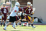 Orange, CA 05/02/10 - William Morrison (Chapman # 1) and Anthony Laflam (ASU # 1) in action during the Chapman-Arizona State MCLA SLC Division I final at Wilson Field on Chapman University's campus.  Arizona State defeated Chapman 13-12 in overtime.