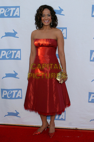 JUDY REYES.PETA's 25th Anniversary Gala and Humanitatian Awards Show held at Paramount Pictures, Hollywood,.Los Angeles, 10th September 2005.full length red satin dress.Ref: ADM/JW.www.capitalpictures.com.sales@capitalpictures.com.© Capital Pictures.