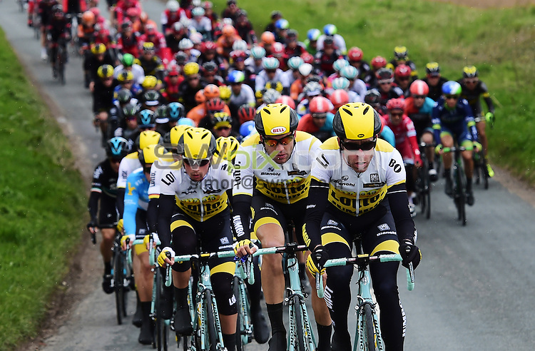 Picture by Alex Broadway/SWpix.com - 30/04/2016 - Cycling - 2016 Tour de Yorkshire: Otley to Doncaster - Yorkshire, England - Team Lotto Nl Jumbo lead the peloton through the Yorkshire countryside.