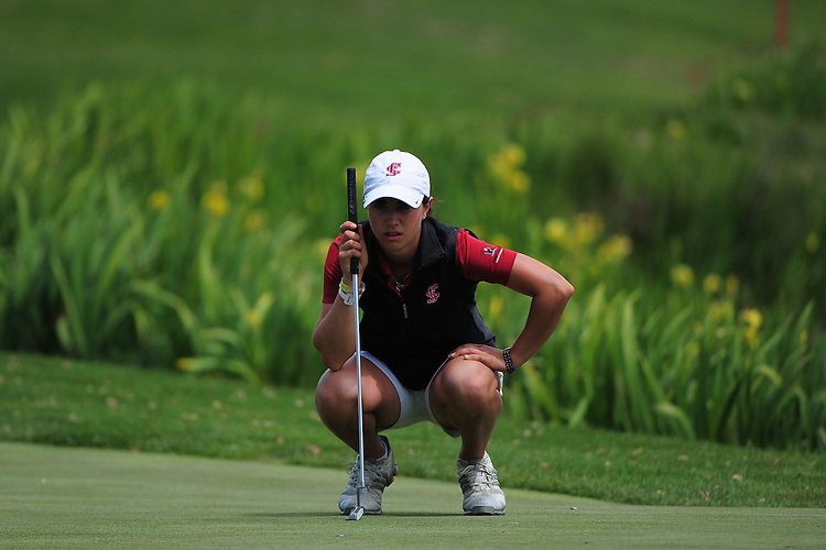 April 17, 2012; Hollister, CA, USA; Santa Clara Broncos golfer Kaci McCartan during the WCC Golf Championships at San Juan Oaks Golf Club.