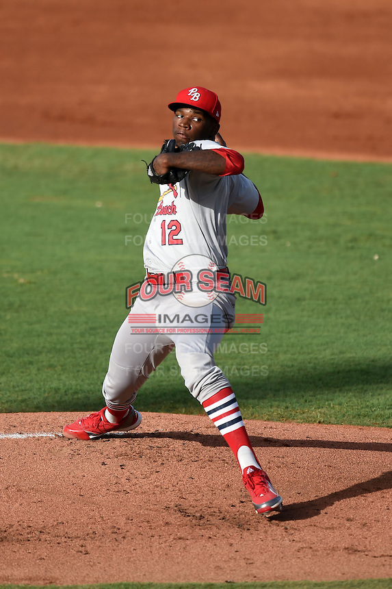 Palm Beach Cardinals starting pitcher Tyrell Jenkins (12) delivers a pitch during a game against the Bradenton Marauders on June 23, 2014 at McKechnie Field in Bradenton, Florida.  Bradenton defeated Palm Beach 11-6.  (Mike Janes/Four Seam Images)