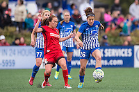 Allston, MA - Sunday, May 1, 2016:  Boston Breakers player McCall Zerboni (77), Portland Thorns FC midfielder Meleana Shim (6), and Boston Breakers midfielder Angela Salem (26) in a match at Harvard University.