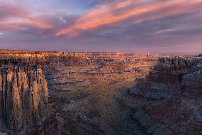 Stunning vista of Arizona's unique canyon lands at sunrise.