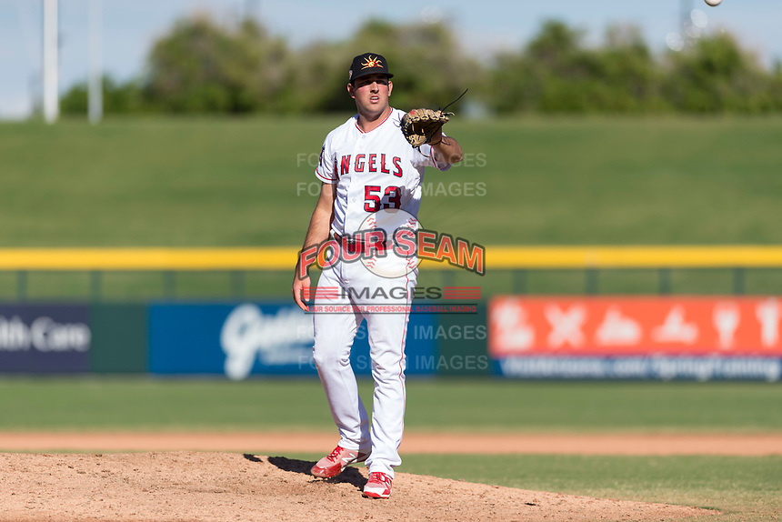 Mesa Solar Sox relief pitcher Brett Hanewich (53), of the Los Angeles Angels organization, waits to receive the ball back from the catcher during an Arizona Fall League game against the Salt River Rafters at Sloan Park on October 30, 2018 in Mesa, Arizona. Salt River defeated Mesa 14-4 . (Zachary Lucy/Four Seam Images)
