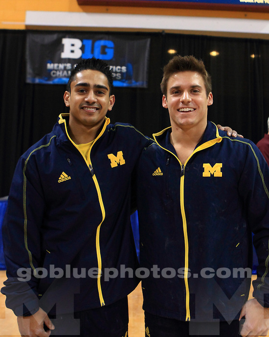 The University of Michigan men's gymnastics team won three individual titles and the all-around in the Big Ten Championships at the Minnesota Sports Pavilion in Minneapolis, Minn., on April 6, 2013.