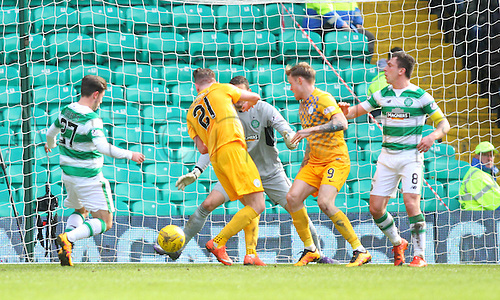 06.03.2016. Celtic Park, Glasgow, Scotland. Scottish Cup. Celtic versus Morton. Craig Gordon makes a save on the line