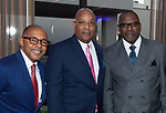 WATERBURY ,  CT-101219JS37-  Event keynote speaker Dr. Jeff Gardere, Monroe Webster and Ken Harge, at the NAACP of Greater Waterbury's 55th annual Mind Body and Soul Freedom Fund Dinner held Saturday at the Courtyard Marriott in Waterbury. <br />  Jim Shannon Republican-American