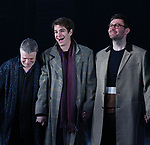 Nathan Lane, Andrew Garfield and James McArdleduring the 'Angels in America' Broadway Opening Night Curtain Call Bows at the Neil Simon Theatre on March 25, 2018 in New York City.