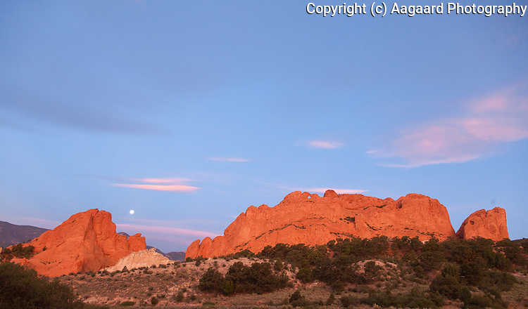 First light and moonset, Garden of the Gods, Colorado Springs