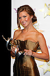 US actress Audrina Patridge receives the Female Stars of Tomorrow Award at the 2009 ShoWest Awards in Las Vegas, California 2 April 2009. The closing night ceremony for the 2009 ShoWest features top film industry talent at the final night banquet and awards ceremony.
