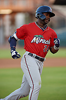 Fort Myers Miracle Akil Baddoo (24) rounds the bases after hitting a home runduring a Florida State League game against the Bradenton Marauders on April 23, 2019 at LECOM Park in Bradenton, Florida.  Fort Myers defeated Bradenton 2-1.  (Mike Janes/Four Seam Images)