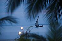 Afrique/Afrique de l'Est/Tanzanie/Zanzibar/Ile Unguja/ Stone Town: un boutre bateau de pécheurs devant la plage du Restaurant Mitoni Marine ou l'on va allumer les lanternes et dresser les tables pour la soirée