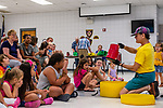 Prospect, CT. 17 July 2019-071719 - Bob Bloom, right, shows the kids the drums they are going to play, during a interactive presentation by Bob himself hosted by the Friends of the Prospect Library, at the Prospect Fire House in Prospect on Wednesday. Bill Shettle Republican-American