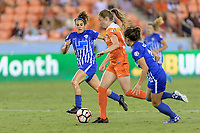 Houston, TX - Wednesday June 28, 2017: Angela Salem defending during a regular season National Women's Soccer League (NWSL) match between the Houston Dash and the Boston Breakers at BBVA Compass Stadium.