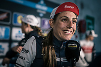 Lucinda Brand (NED/Trek Segafredo), pre race interview<br /> <br /> 12th Women's Omloop Het Nieuwsblad 2020 (BEL)<br /> Women's Elite Race <br /> Gent – Ninove: 123km<br /> <br /> ©kramon