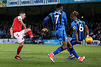 Fleetwood Town's Jason Holt shoots at goal under pressure from Gillingham's Gabriel Zakuani and Brandon Hanlon<br /> <br /> Photographer Andrew Kearns/CameraSport<br /> <br /> The EFL Sky Bet League One - Gillingham v Fleetwood Town - Saturday 3rd November 2018 - Priestfield Stadium - Gillingham<br /> <br /> World Copyright &copy; 2018 CameraSport. All rights reserved. 43 Linden Ave. Countesthorpe. Leicester. England. LE8 5PG - Tel: +44 (0) 116 277 4147 - admin@camerasport.com - www.camerasport.com