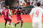 Tarek Salman of Qatar (C) in action during the AFC Asian Cup UAE 2019 Semi Finals match between Qatar (QAT) and United Arab Emirates (UAE) at Mohammed Bin Zaied Stadium  on 29 January 2019 in Abu Dhabi, United Arab Emirates. Photo by Marcio Rodrigo Machado / Power Sport Images