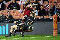 1st August 2020, Hamilton, New Zealand;  Tom Sanders scores. Chiefs versus Crusaders, Super Rugby Aotearoa, FMG Waikato Stadium, Hamilton, New Zealand.