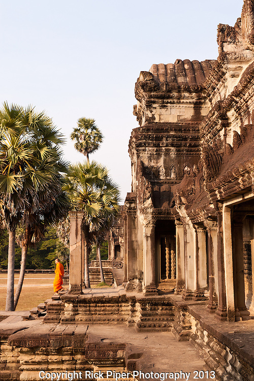Angkor Wat 01 - View of northern wing of the Western Gallery on the first level, from Gopura III W, Angkor Wat, Cambodia