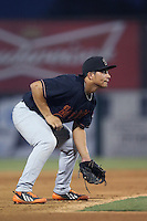 Sammy Diaz #18 of the Bakersfield Blaze during a game against the Inland Empire 66ers at San Manuel Stadium on August 21, 2014 in San Bernardino, California. Bakersfield defeated Inland Empire, 4-0. (Larry Goren/Four Seam Images)