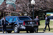 United States President Barack Obama walks to his motorcade for a trip to the U.S. Capitol as the President continues a series of meetings with Republican and Democratic leaders in an effort to reach budget compromise in Washington, D.C. on March 14, 2013. .Credit: Kristoffer Tripplaar / Pool via CNP