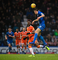 Blackpool's Armand Gnanduillet vies for possession with Rochdale's Ryan Delaney<br /> <br /> Photographer Chris Vaughan/CameraSport<br /> <br /> The EFL Sky Bet League One - Rochdale v Blackpool - Wednesday 26th December 2018 - Spotland Stadium - Rochdale<br /> <br /> World Copyright &copy; 2018 CameraSport. All rights reserved. 43 Linden Ave. Countesthorpe. Leicester. England. LE8 5PG - Tel: +44 (0) 116 277 4147 - admin@camerasport.com - www.camerasport.com