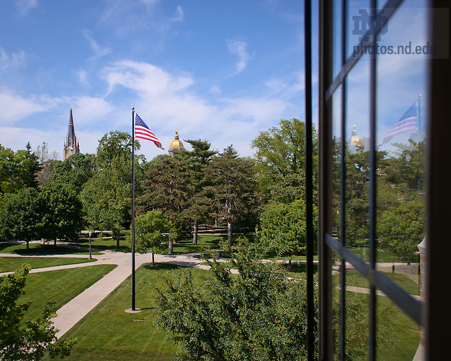 May 15, 2012; Basilica, Dome and South Quad flag seen from Biolchini Hall of Law..Photo by Matt Cashore/University of Notre Dame