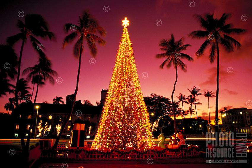 Honolulu Hale (City Hall) at Christmas with lights and palms, Oahu