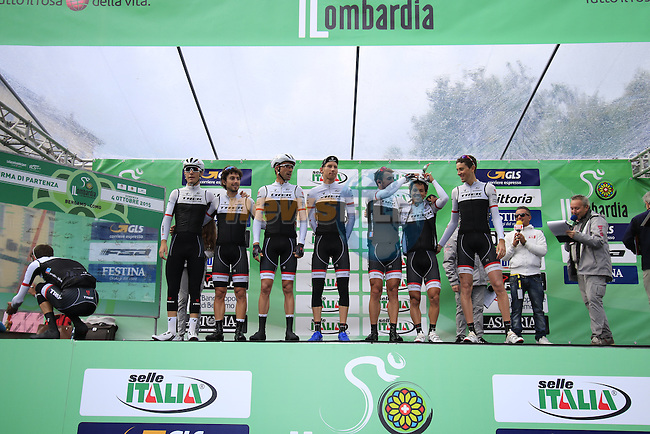 Trek Factory Racing at sign on for the start of the last classic of the season Il Lombardia 2015 running 245km from Bergamo to Como, Italy. 4th October 2015.<br /> Picture: Eoin Clarke | Newsfile