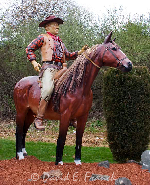 John Wayne on a horse statue at the Classic Auto Wash in Cromwell CT