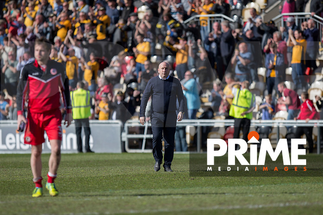 Accrington Stanley manager John Coleman leaves the field at full time of the Sky Bet League 2 match between Newport County and Accrington Stanley at Rodney Parade, Newport, Wales on 22 April 2017. Photo by Mark  Hawkins.