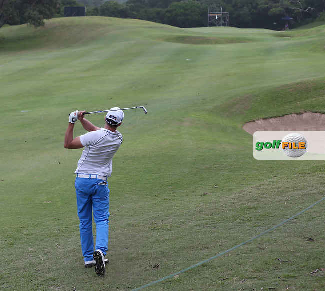 Maximilian  Kieffer (GER) plays second shot to the 4th during Round One of The Africa Open 2014 at the East London Golf Club, Eastern Cape, South Africa. Picture:  David Lloyd / www.golffile.ie