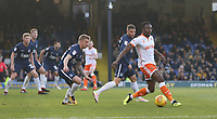 Blackpool's Joe Dodoo holds off Southend United's Jason Demetriou and Michael Kightly<br /> <br /> Photographer Rob Newell/CameraSport<br /> <br /> The EFL Sky Bet League One - Southend United v Blackpool - Saturday 17th November 2018 - Roots Hall - Southend<br /> <br /> World Copyright &copy; 2018 CameraSport. All rights reserved. 43 Linden Ave. Countesthorpe. Leicester. England. LE8 5PG - Tel: +44 (0) 116 277 4147 - admin@camerasport.com - www.camerasport.com