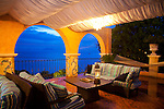 Little Arches Hotel in Oistins, Christ Church, Barbados is a lovely 10 room boutique hotel located just steps away from Enterprise Beach.  They also offer a marvelous restaurant on the roof of the property called Cafe Luna where you can dine on regional cuisine under the stars. The outdoor area around the pool where one can play chess while watching the sun set.