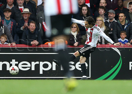 April 14th 2017,  Brent, London, England; Skybet Championship football, Brentford versus Derby County; Jota of Brentford scores his sides 4th goal in the 90th minute to make it 4-0