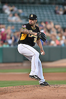 Hector Santiago (35) of the Salt Lake Bees delivers a pitch to the plate against the Fresno Grizzlies at Smith's Ballpark on May 25, 2014 in Salt Lake City, Utah.  (Stephen Smith/Four Seam Images)