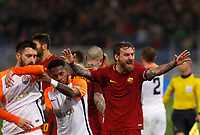 Roma s Daniele De Rossi reacts during the Uefa Champions League round of 16 second leg soccer match between Roma and Shakhtar Donetsk at Rome's Olympic stadium, March 13, 2018. Roma won. 1-0 to join the quarter finals.<br /> UPDATE IMAGES PRESS/Riccardo De Luca