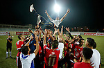 Players of Hebron's Ahly al-Khalil football club celebrate after beating Hebron's Shabab al-Khalil during Super Cup soccer match, in the West Bank city of Hebron, on Sep. 09, 2016. Photo by Wisam Hashlamoun