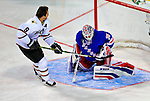24 January 2009: New York Rangers goaltender Henrik Lundqvist makes a save on Dallas Stars center Mike Modano in the Elimination Shootout of the NHL SuperSkills Competition, during the All-Star Weekend at the Bell Centre in Montreal, Quebec, Canada. ***** Editorial Sales Only ***** Mandatory Photo Credit: Ed Wolfstein Photo