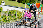 PUTTING THE BRAKES ON:  Aileen Crean-O'Brien and her intrepid partner Bill Sheppard take Kilmurry Hill in their stride as they arrive in Kenmare for the launch of their September expedition following in the footsteps of her adventurous grandfather Tom Crean.