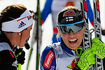 FALUN, SWEDEN - March 24: (L-R) Nicole Fessel of Germany (GER) and Mona-Lisa Malvalehto of Finland (FIN) after finishing the last race of the season 2012/2013 at the Viessmann Ladies Handicap 10km F at the FIS Cross country World Cup Final on March 24, 2013 in Falun, Sweden. (Photo by Dirk Markgraf)