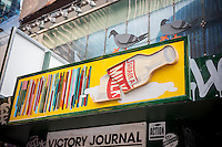 "Detail of ""T. SQ Newsstand""  in Times Square in New York on Friday, October 9, 2015. Created by the artist Kimou ""Grotesk"" Meyer with Victory Journal and Juxtapoz Magazine, the pop-up displays and sells art and culture zines created by a litany of artists. It will be in business at the crossroads of the world until October 18. (© Richard B. Levine)"