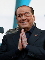 "Italian right Forza Italia party's leader Silvio Berlusconi gestures after speaking on the stage during the so-called ""Italian Pride!"" political rally against government's economic policies in St. John Lateran Square, Rome, Italy, October 19, 2019.<br /> Update Images Press/Riccardo De Luca"