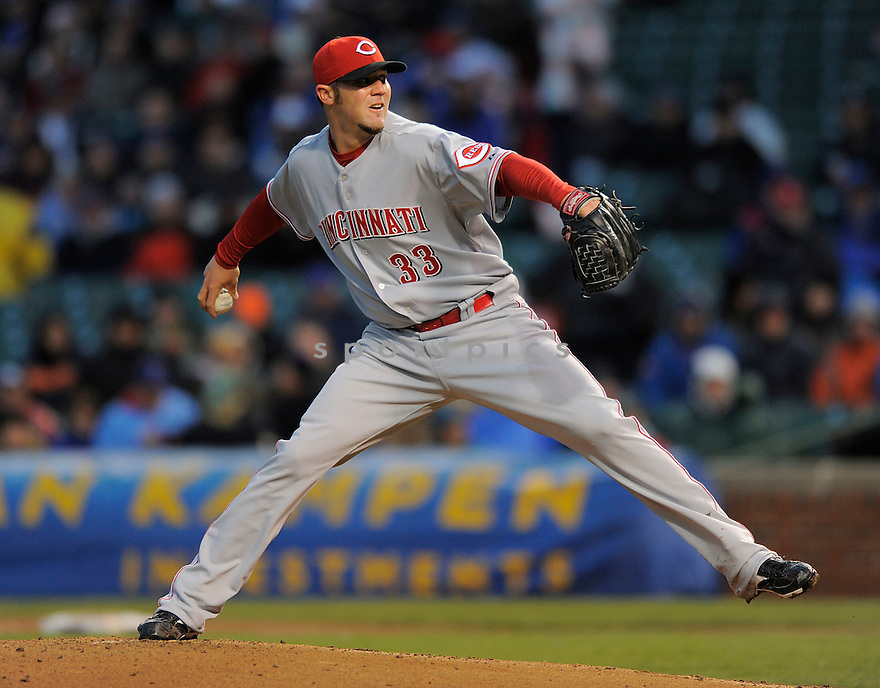 MICAH OWINGS, of the Cincinnati Reds, in action  during the Reds game against the Chicago Cubs  on April 21, 2009 in Chicago, Illinois  The Cubs beat  the Reds 7-2.