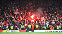 The FC Koln are lively behind a line of Police during the UEFA Europa League match between Arsenal and FC Koln at the Emirates Stadium, London, England on 14 September 2017. Photo by Andrew Aleks.