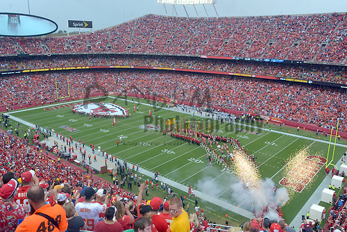 Sep 15, 2013; Kansas City, MO, USA; A general view of the pre-game ceremonies before the game between the Kansas City Chiefs and Dallas Cowboys at Arrowhead Stadium. The Chiefs won 17-16. Mandatory Credit: Denny Medley-USA TODAY Sports