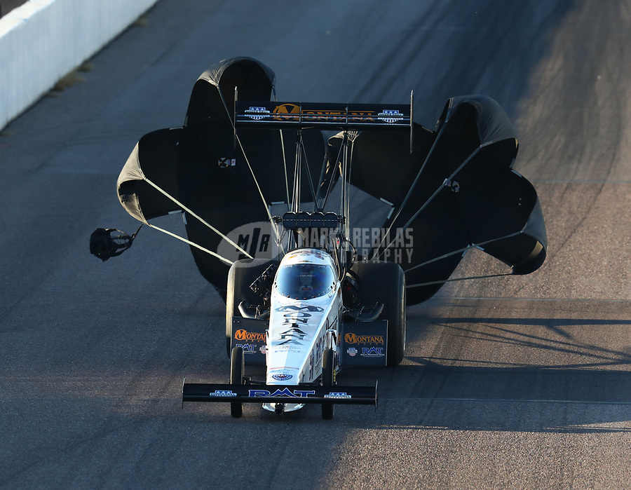Feb 23, 2019; Chandler, AZ, USA; NHRA top fuel driver Austin Prock during qualifying for the Arizona Nationals at Wild Horse Pass Motorsports Park. Mandatory Credit: Mark J. Rebilas-USA TODAY Sports