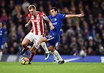 Pedro of Chelsea is challenged by Darren Fletcher of Stoke City during the premier league match at Stamford Bridge Stadium, London. Picture date 30th December 2017. Picture credit should read: Robin Parker/Sportimage