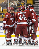 Dan Ford (Harvard - 5), Danny Biega (Harvard - 9), Max Everson (Harvard - 44), Ryan Grimshaw (Harvard - 6) - The Harvard University Crimson defeated the Northeastern University Huskies 3-2 in the 2012 Beanpot consolation game on Monday, February 13, 2012, at TD Garden in Boston, Massachusetts.